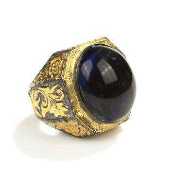 Blue Amber Ring