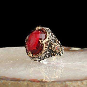 925 Silver Ring with Red Stone