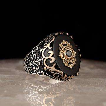 Mens Ring with Onyx Stone
