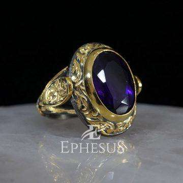 Hand Engraved Amethyst Ring for Men in Sterling Silver