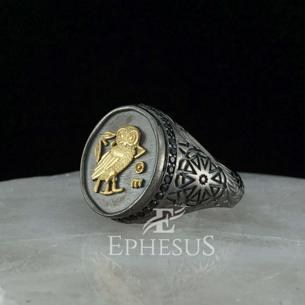 Owl Ring For Men And Women Hawk/'s Eye OWL Ring 925 Sterling Silver