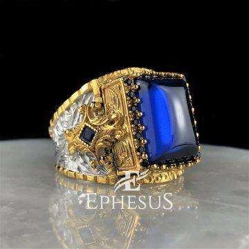 Gold Ring with Blue Stone