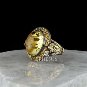 Amber and Gold Ring