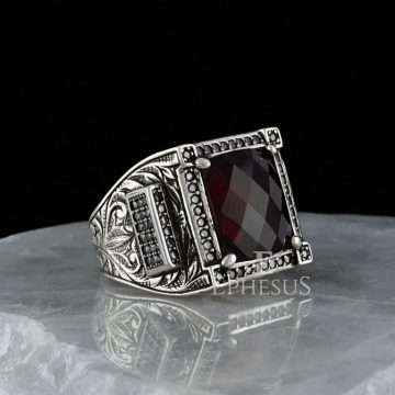 Mens Red Stone Ring